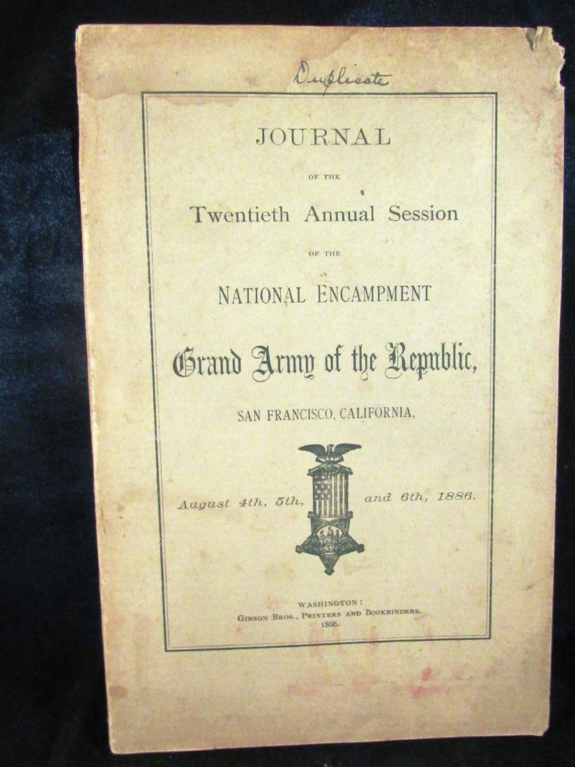1886 Journal GAR Civil war Vets