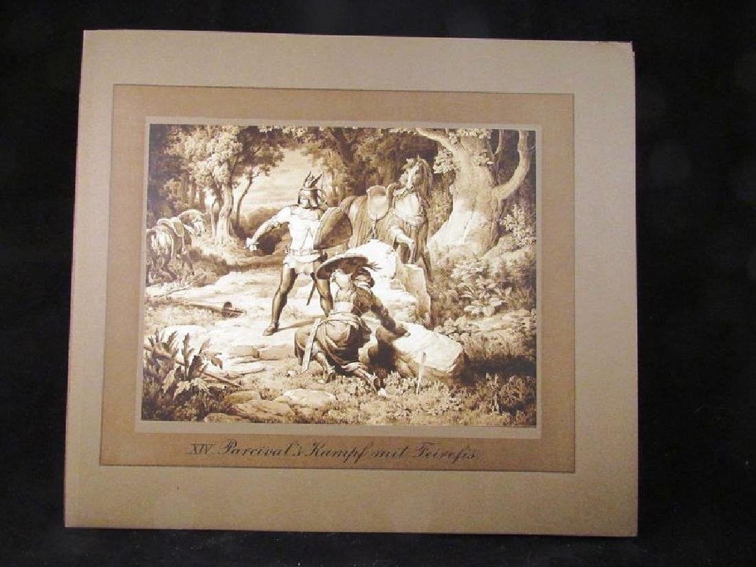 Lot of (12) Parzival sepia prints 19th c - 10