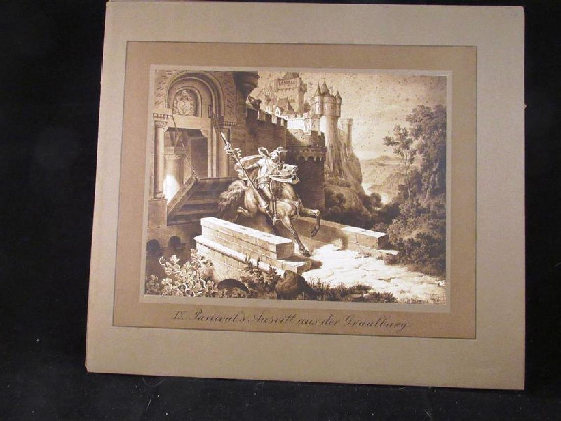 Lot of (12) Parzival sepia prints 19th c