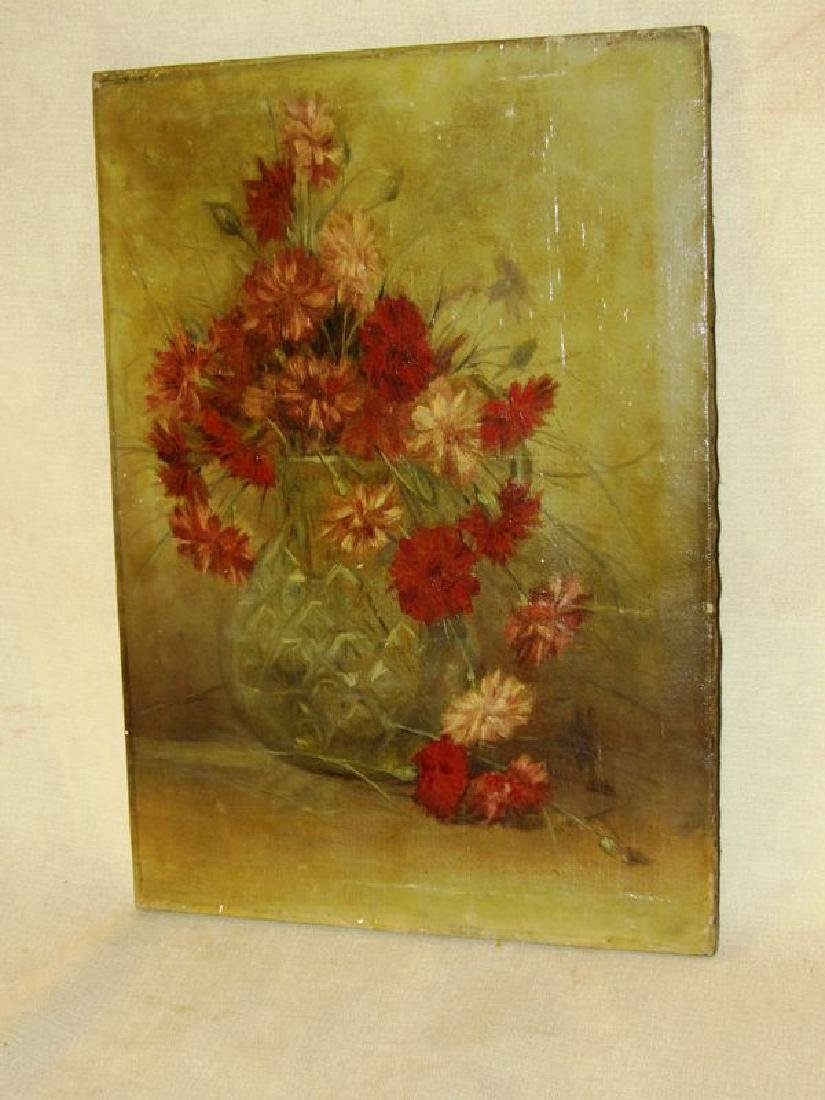 Victorian Painting still life flowers o/c
