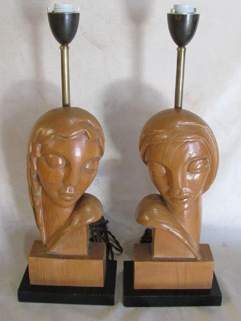 Pair signed Stasack art Deco style table lamps