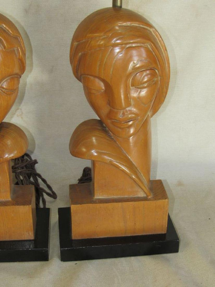 Pair signed Stasack art Deco style table lamps - 3