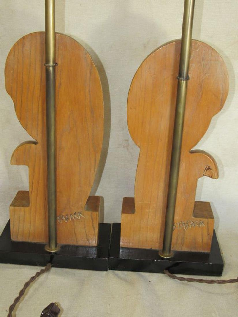 Pair signed Stasack art Deco style table lamps - 5