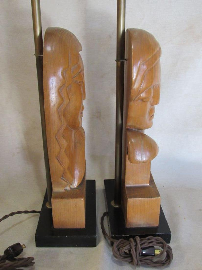 Pair signed Stasack art Deco style table lamps - 7