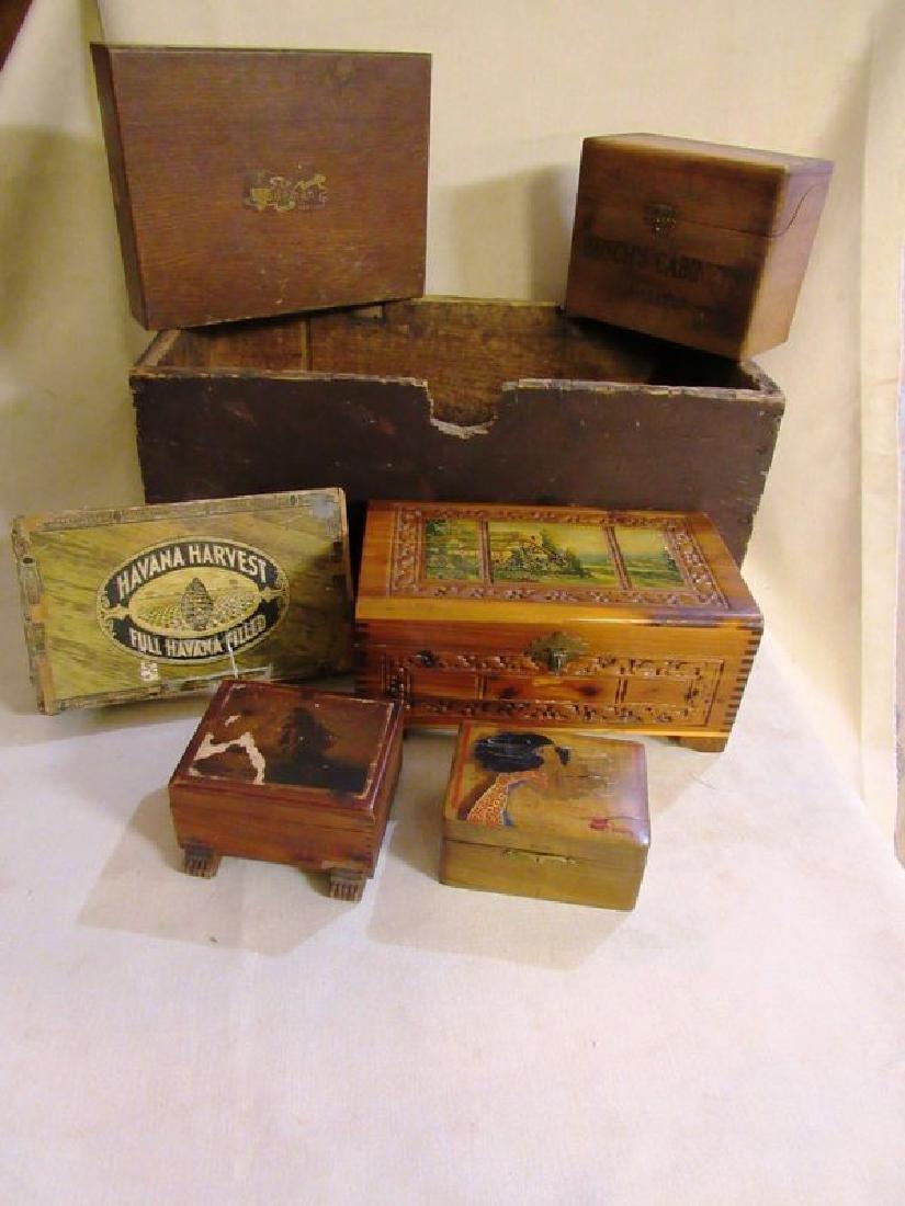 Lot vintage- antique wooden boxes (7)