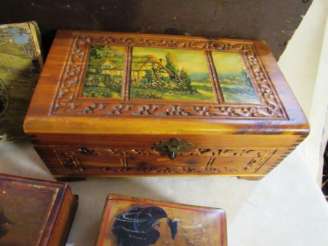 Lot vintage- antique wooden boxes (7) - 4
