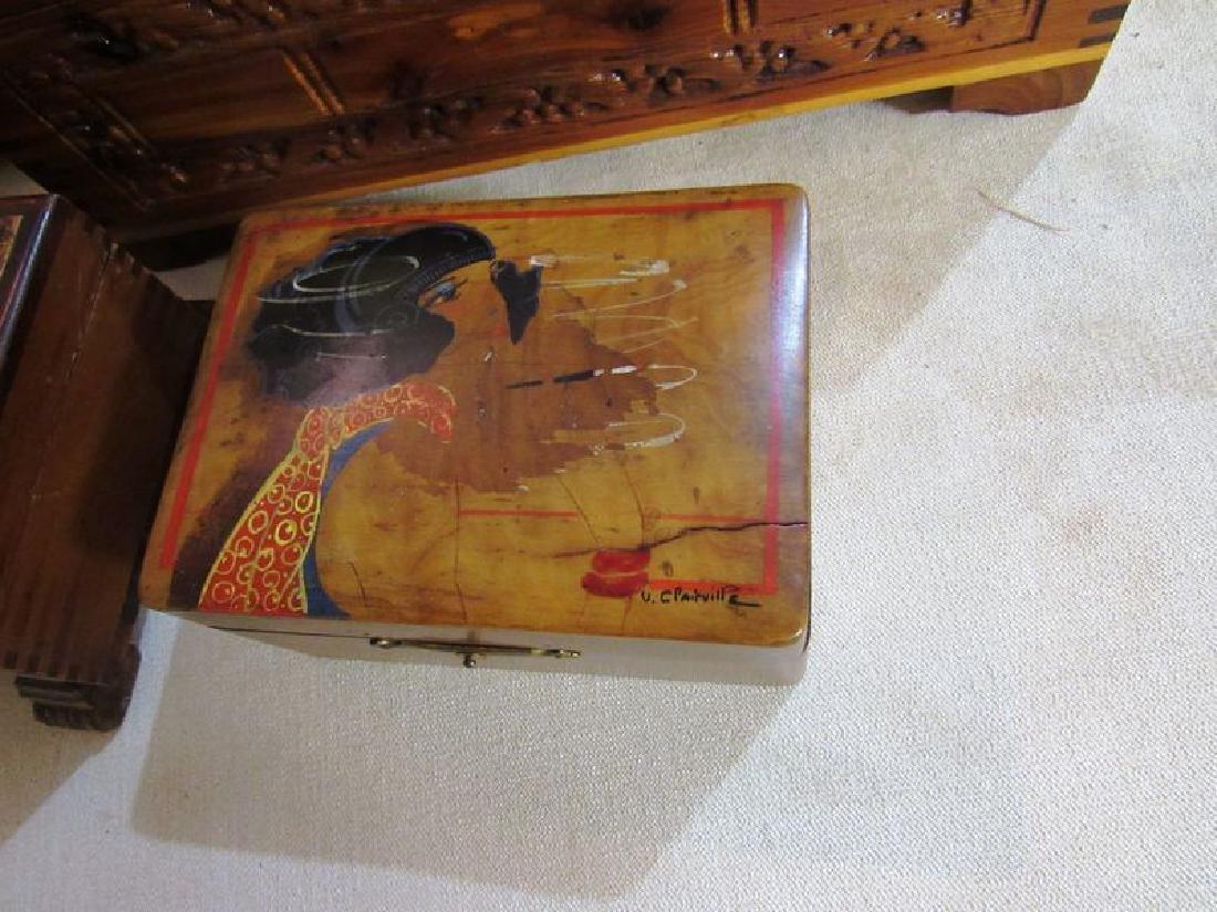 Lot vintage- antique wooden boxes (7) - 5