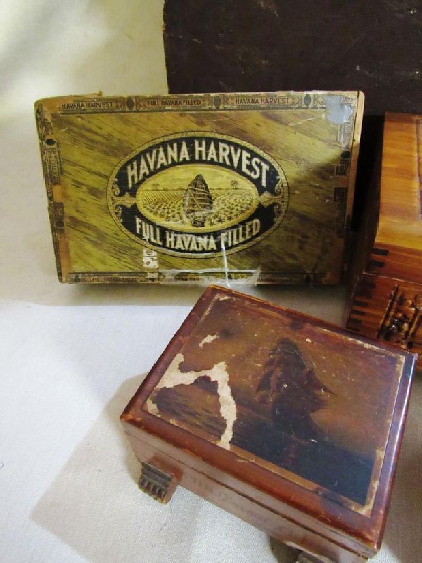 Lot vintage- antique wooden boxes (7) - 6