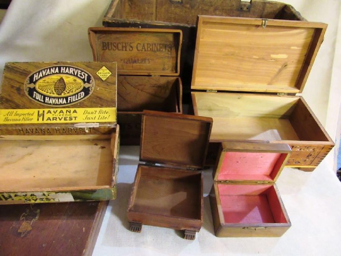 Lot vintage- antique wooden boxes (7) - 8