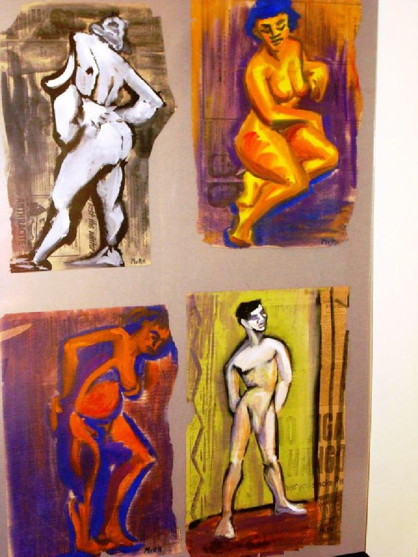 Lot (4)  mid c.MvRH (NYC artist) signed nudes