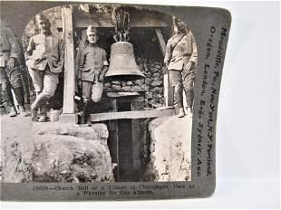 Antique Stereoview WWI Keystone church bell warnings