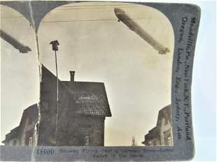 Antique stereoview WWI Zeppelin Keystone