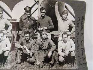 Antique stereoview WWI US Aviators