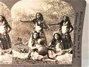 Antique stereoview Hawaiian Hula girls
