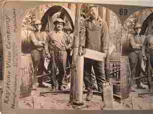 5 Antique occupational oil stereoviews