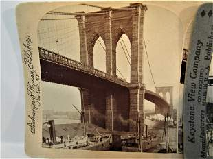 4 Antique stereoviews New York bridges