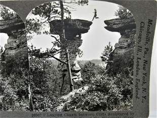 Antique stereoview Leaping Chasm