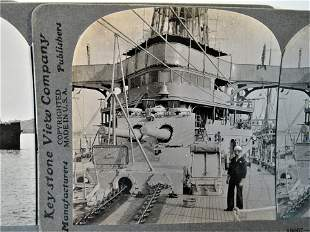 5 Antique stereoview WWI Warships