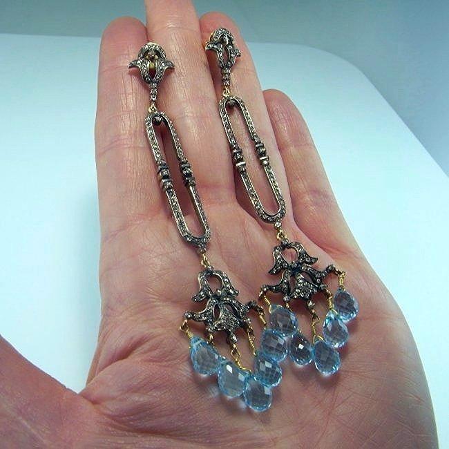ANTIQUE DIAMOND AQUAMARINE DROP CHANDELIER EARRINGS