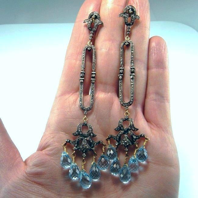 ANTIQUE DIAMOND AQUAMARINE DROP CHANDELIER EARRINGS - 3