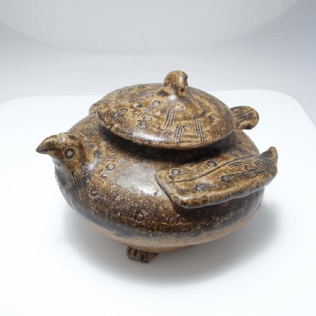 ARCHAIC Han Pottery Vessel Jar Bird Ancient