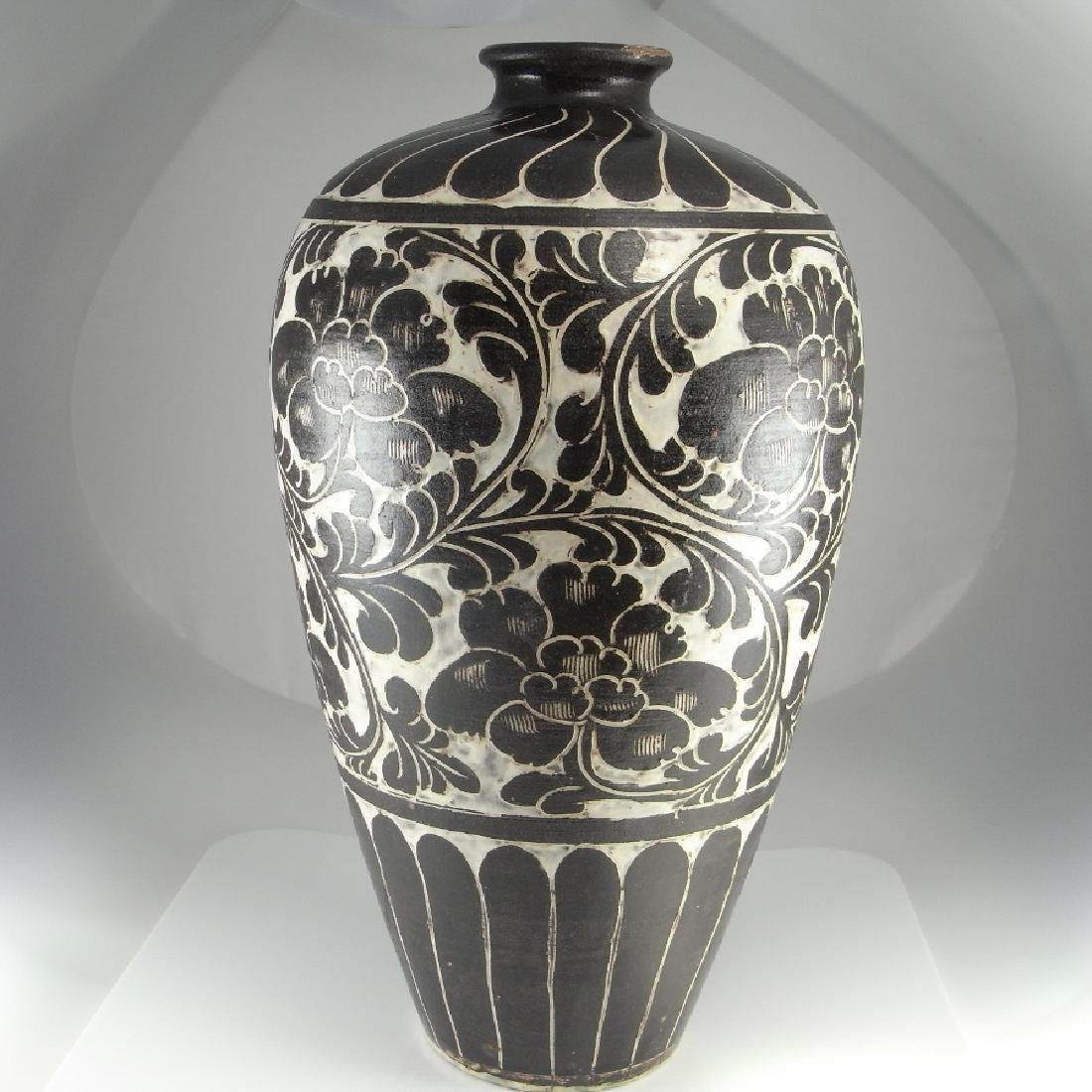 Cizhou Type Meiping Vase Black White