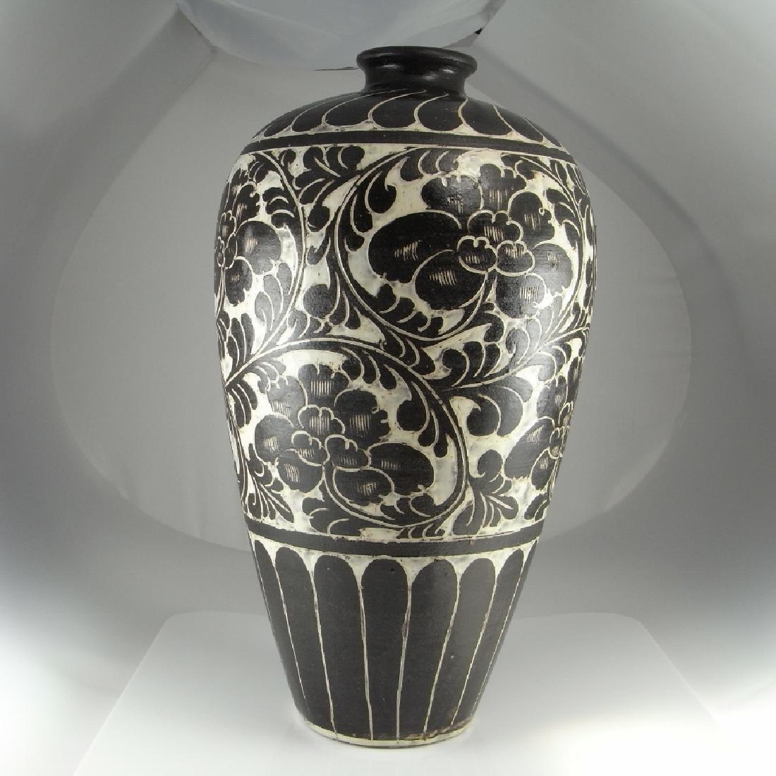 Cizhou Type Meiping Vase Black White - 2