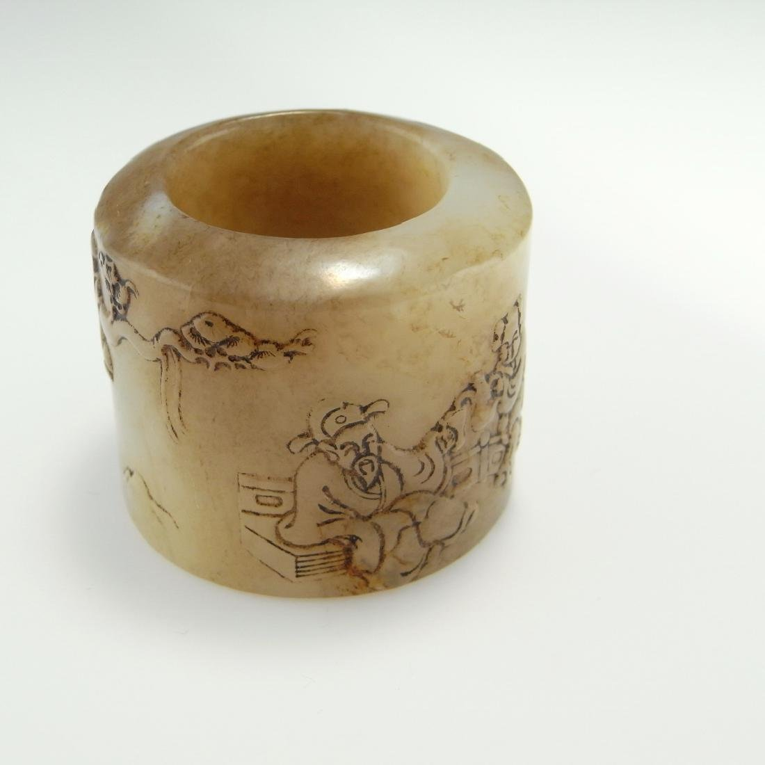 Antique Qing Inscribed Archers Ring Zigang NEPHRITE - 2