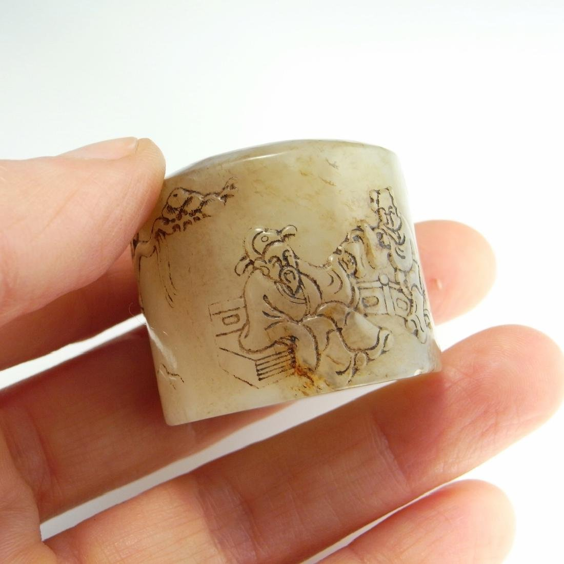 Antique Qing Inscribed Archers Ring Zigang NEPHRITE - 6