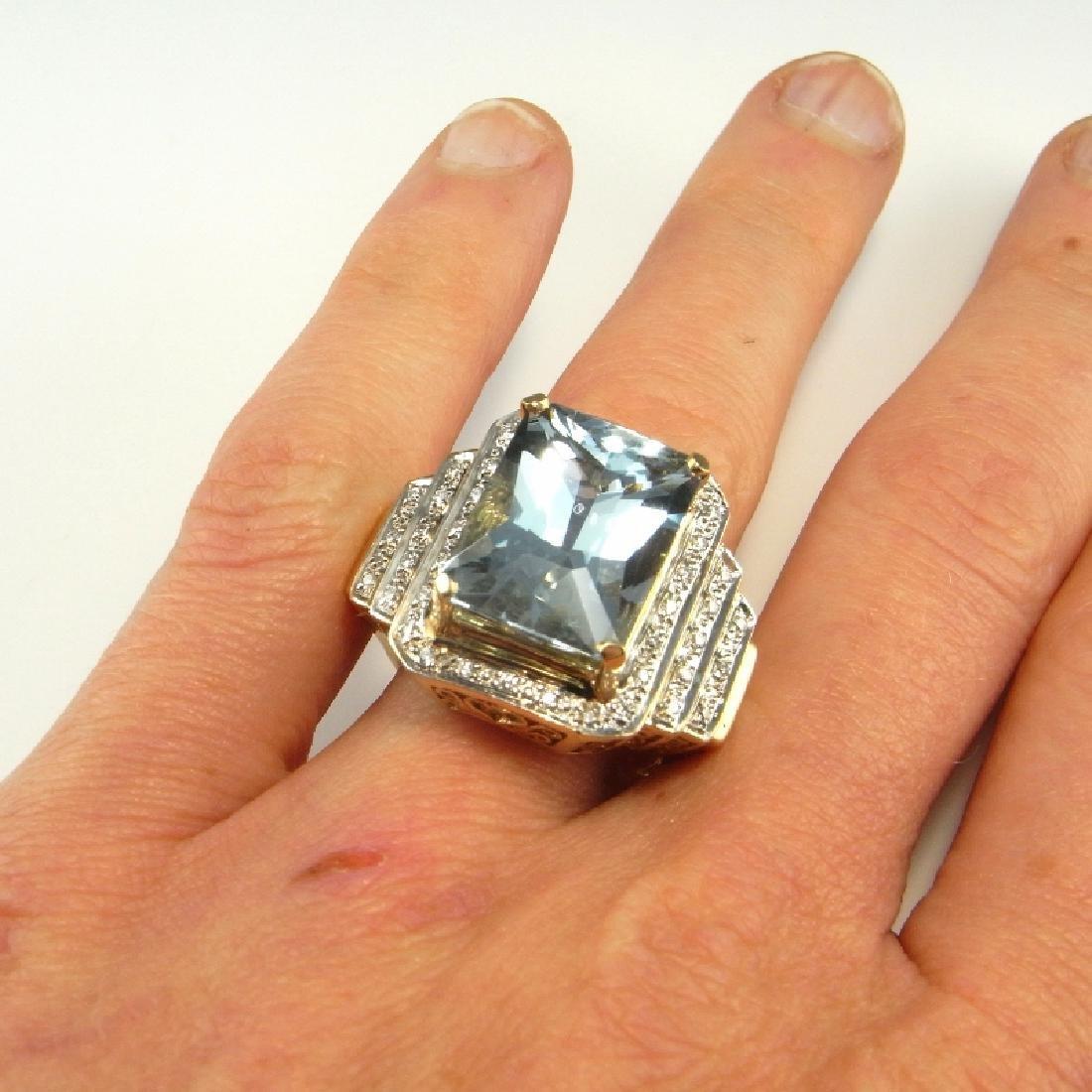 BIG AQUAMARINE DIAMOND RING 14K GOLD  11.20 CTW
