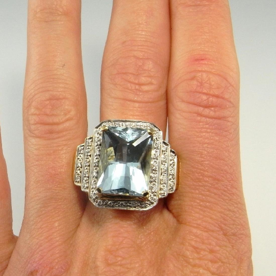 BIG AQUAMARINE DIAMOND RING 14K GOLD  11.20 CTW - 2