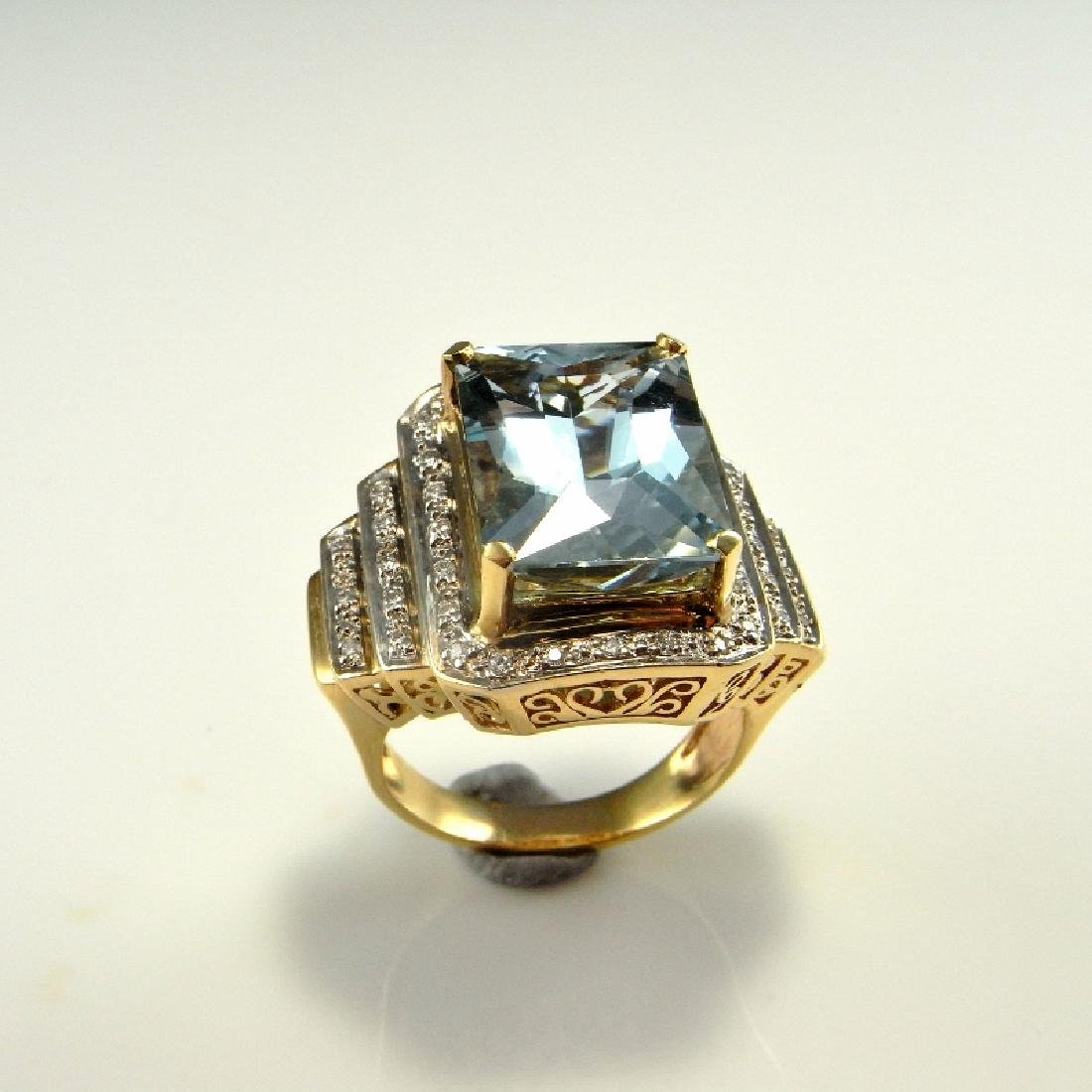 BIG AQUAMARINE DIAMOND RING 14K GOLD  11.20 CTW - 4