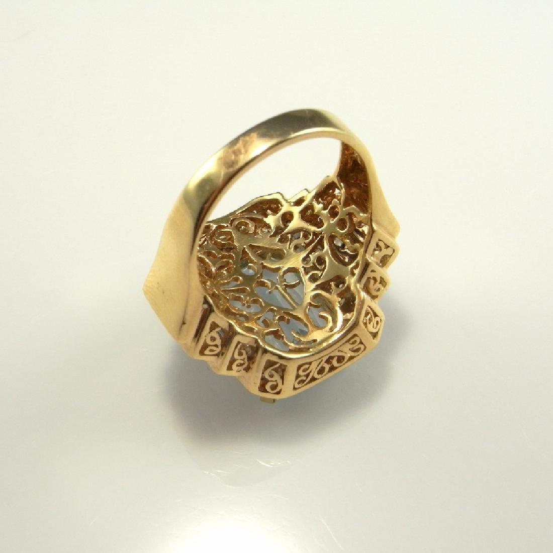 BIG AQUAMARINE DIAMOND RING 14K GOLD  11.20 CTW - 5