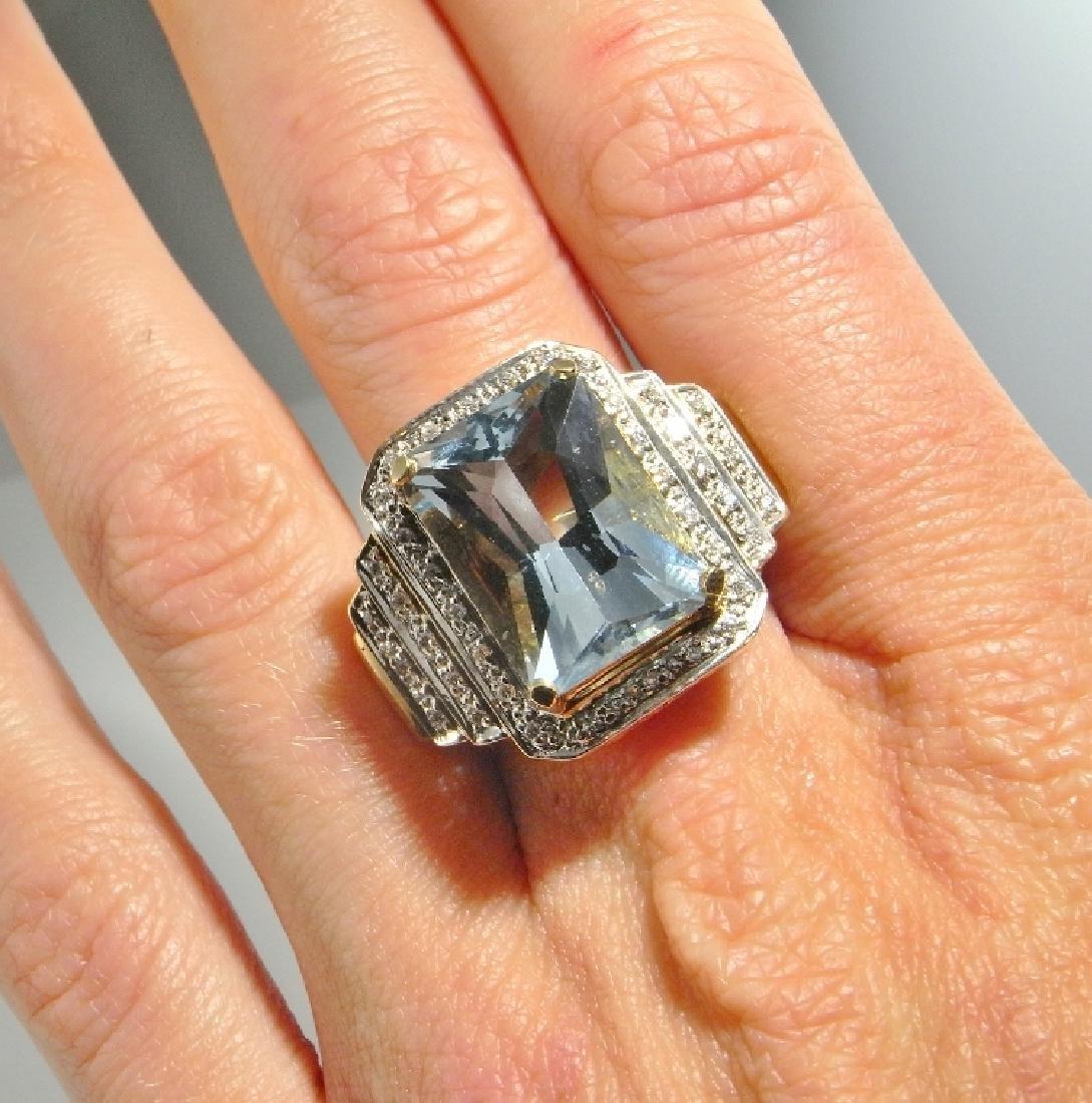 BIG AQUAMARINE DIAMOND RING 14K GOLD  11.20 CTW - 6