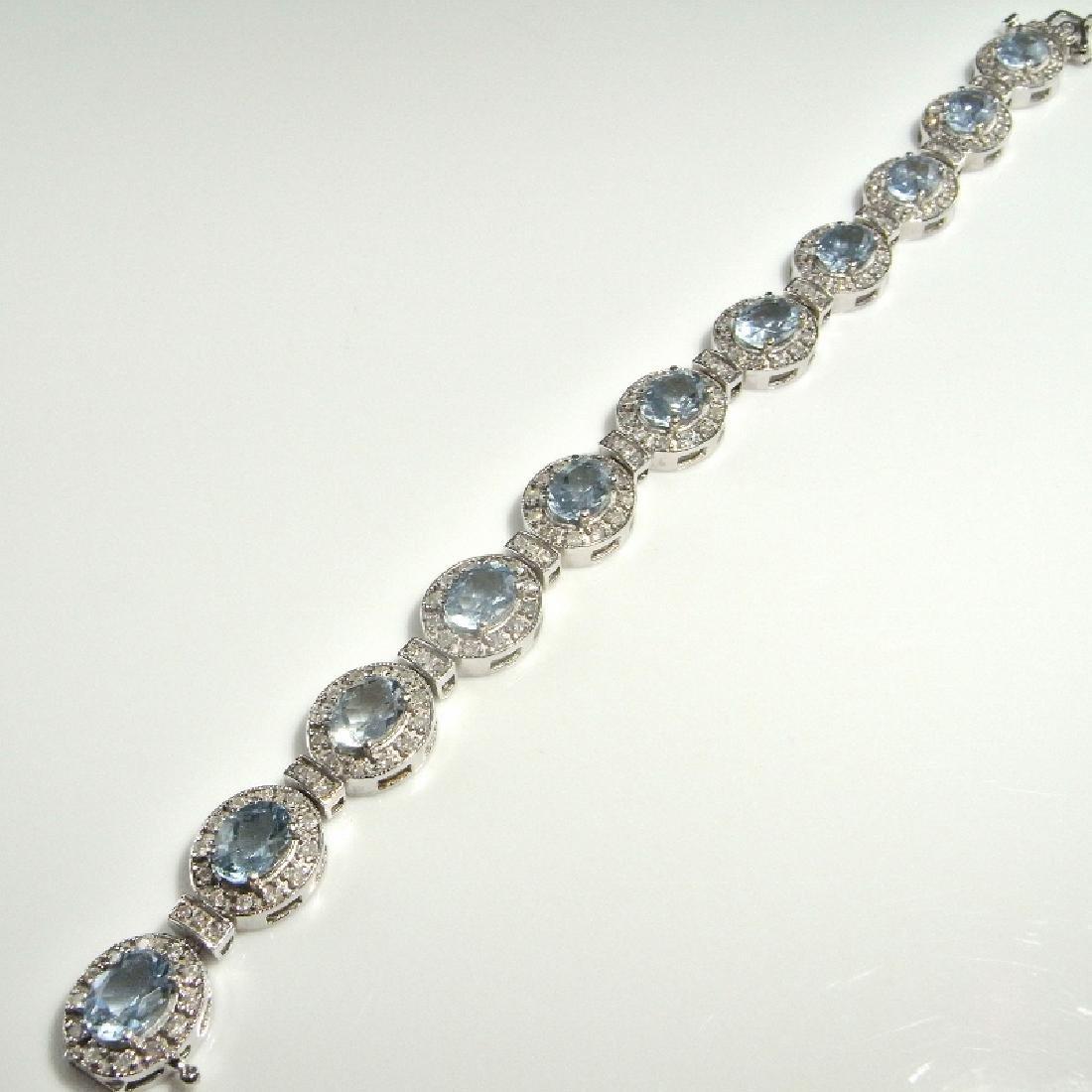 AQUAMARINE DIAMOND BRACELET 14K GOLD 16.61 CTW - 4