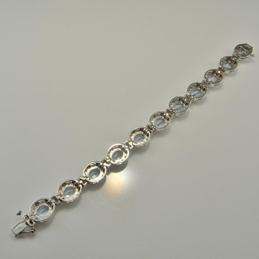AQUAMARINE DIAMOND BRACELET 14K GOLD 16.61 CTW - 7
