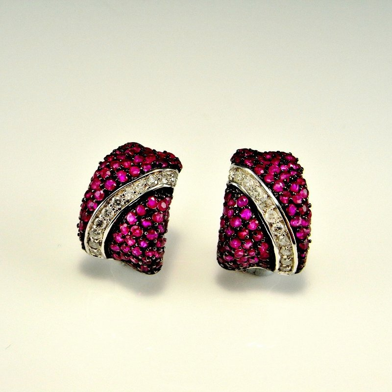 PAVE RUBY DIAMOND 14K GOLD EARRINGS 3.07 CTW
