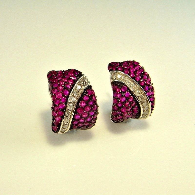 PAVE RUBY DIAMOND 14K GOLD EARRINGS 3.07 CTW - 7