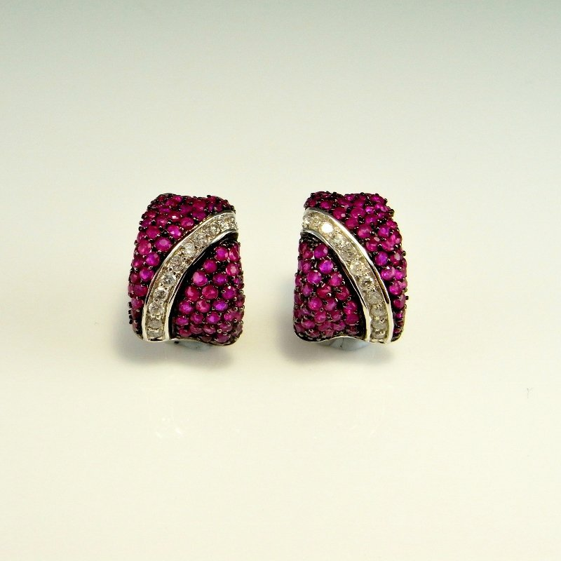 PAVE RUBY DIAMOND 14K GOLD EARRINGS 3.07 CTW - 8