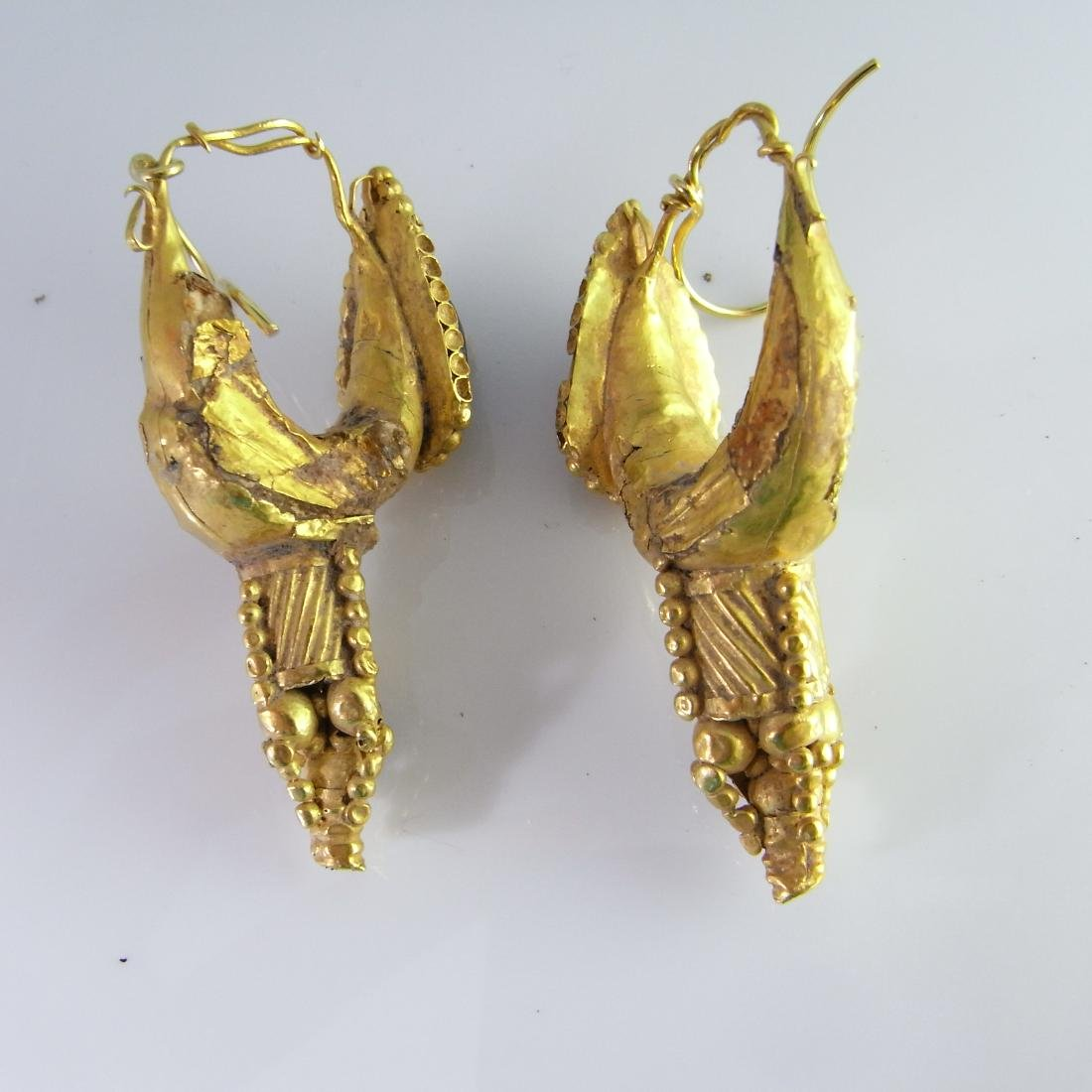 LARGE ANCIENT ROMAN GARNET GOLD EARRINGS 4TH C AD - 5