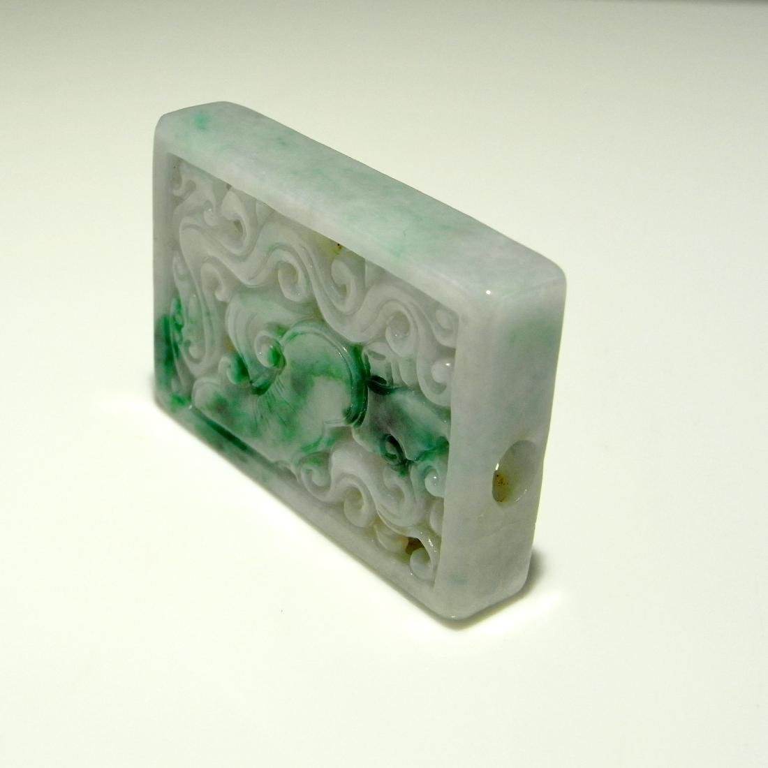 Jadeite Jade Carved Pendant Openwork Chinese DRAGON - 4