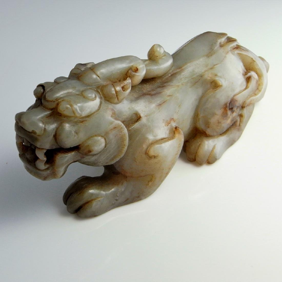 JADE CARVING MYTHOLOGICAL ANIMAL BIXIE ANTIQUE