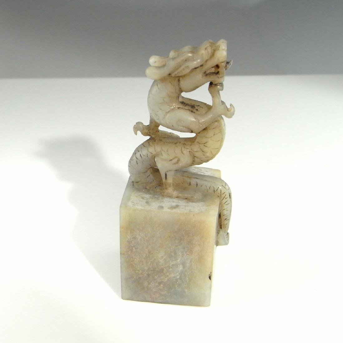 CHINESE WHITE JADE DRAGON SEAL ANTIQUE QING DYNASTY