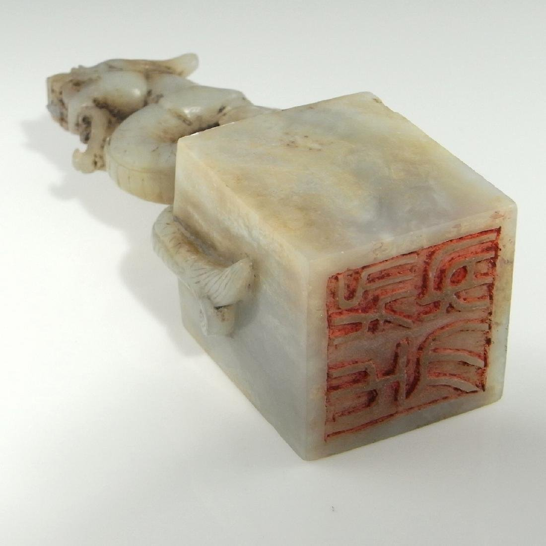 CHINESE WHITE JADE DRAGON SEAL ANTIQUE QING DYNASTY - 3
