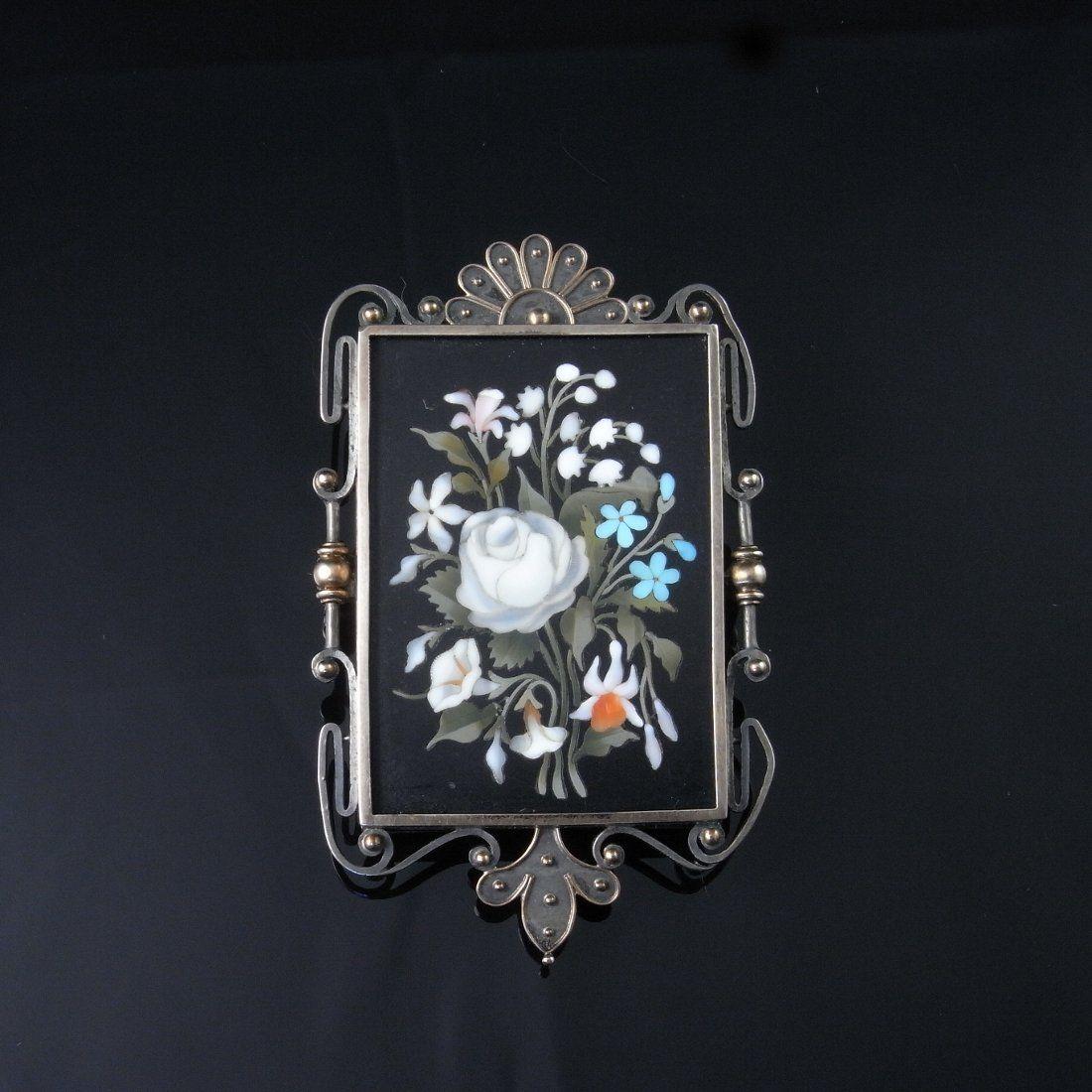 ANTIQUE Victorian Circa 1850 Pietra Dura 14K pin brooch