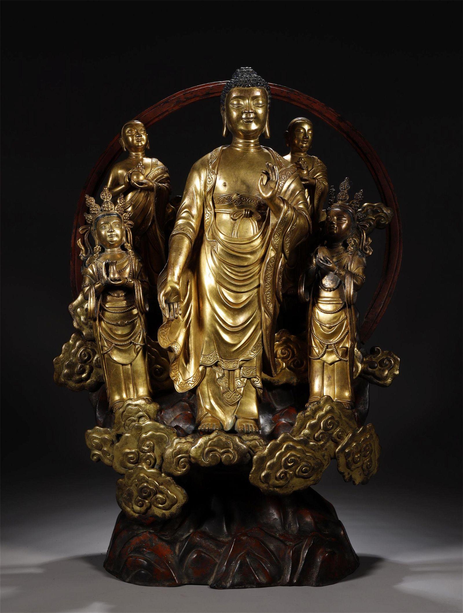 Five Gilt Bronze Buddhas Statue in One