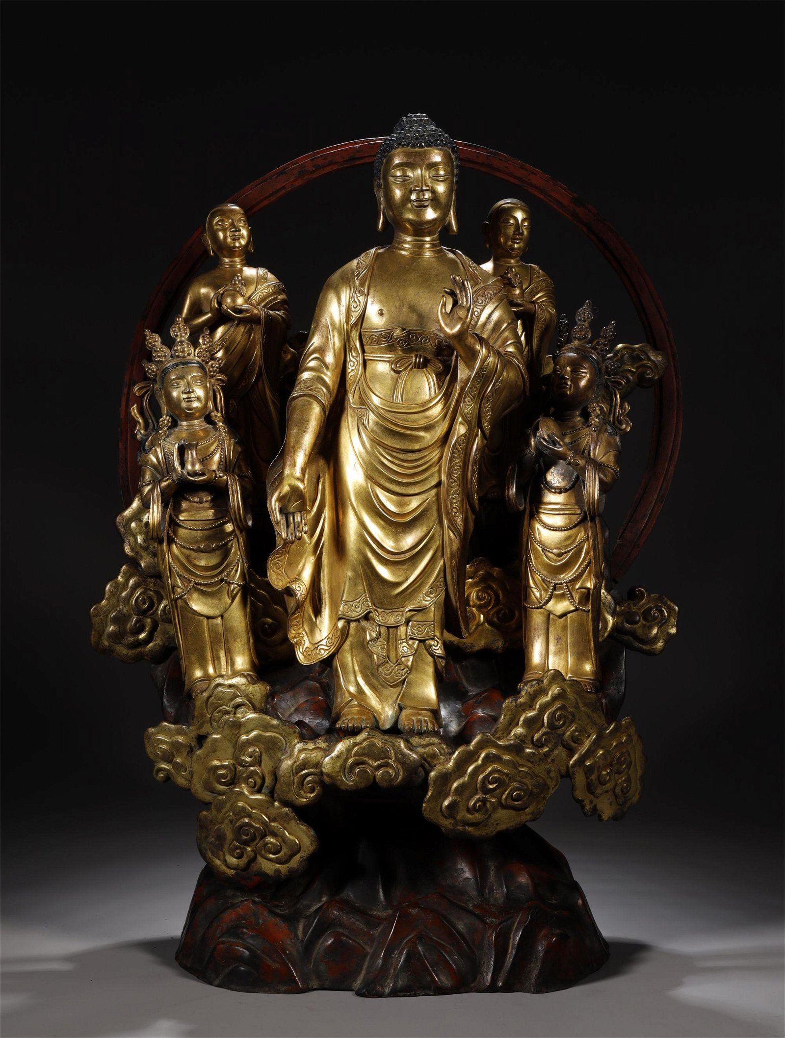 Five  Gilt Bronze Buddhas  Statue in One