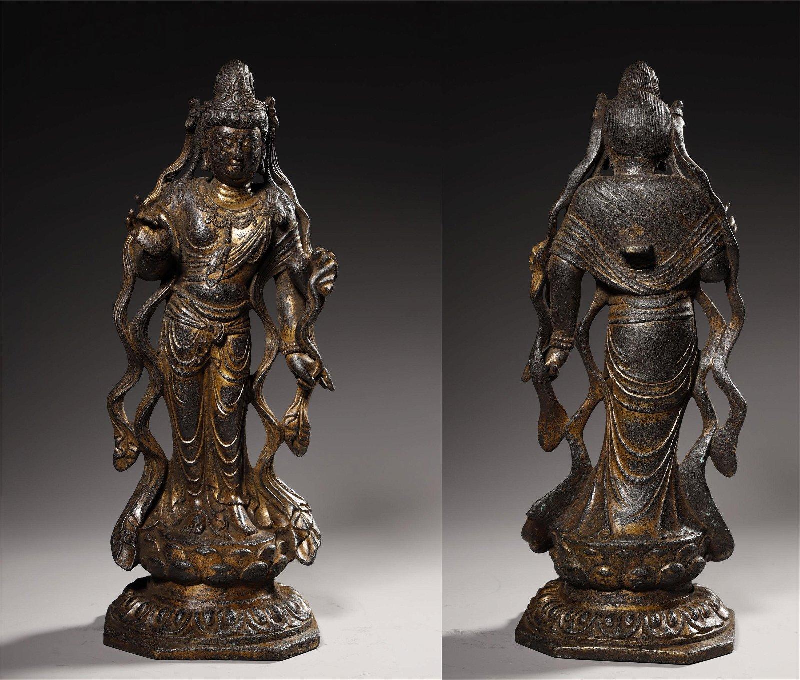 Early Stage, Gilt Bronze Kuan Yin Standing Buddha
