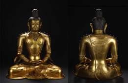 Qing Kangxi Gilt Bronze Buddha Statue