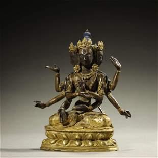 Part of Gilt Bronze Buddha Statue